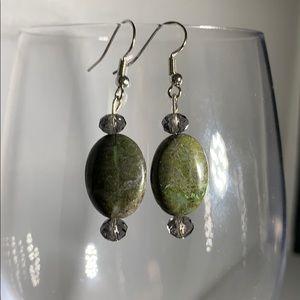 Green stone and bead earrings